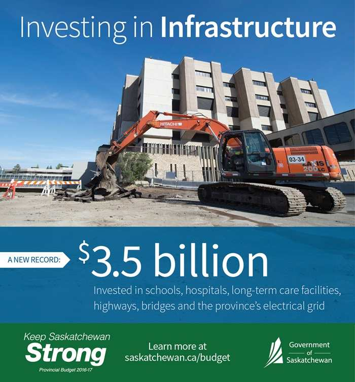 Building Schools, Hospitals, Highways and Crown Utility Projects Will Keep Saskatchewan Strong   News and Media   Government of Saskatchewan Education Government Health & Wellness SouthWest Saskatchewan  SaskPower Infrastructure Government of Saskatchewan