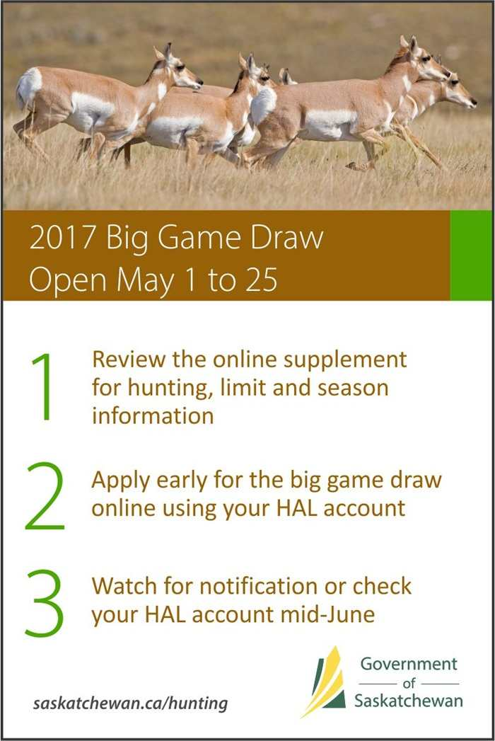 Saskatchewan's 2017 Big Game Draw Opens Online May 1 | News and Media | Government of Saskatchewan SouthWest Saskatchewan Tourism  Saskatchewan Government of Saskatchewan